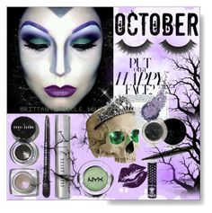 """""""Halloween Make Up Purple & Green """"Put on a Happy Face"""""""" by calamity-jane-always ❤ liked on Polyvore featuring beauty, Bobbi Brown Cosmetics, Allstate Floral, Manic Panic, Mary Kay, Halloween, Beauty and BobbiBrown"""