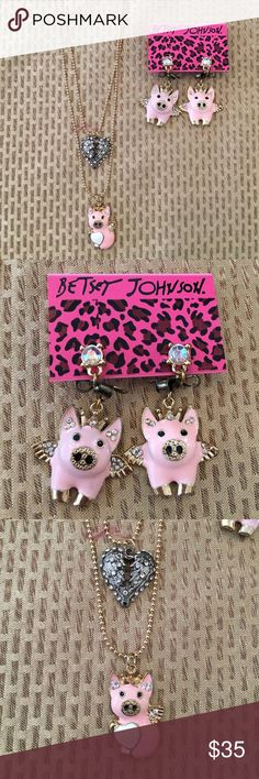 Flying piggy set  Goodmorning I'm selling an adorable flying piggy set with the earrings and necklace! Betsey Johnson Jewelry Earrings