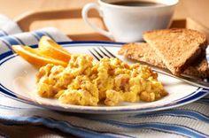 creamy scrambled eggs ham the philadelphia herb garlic cream cheese ...
