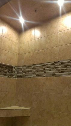Tiled shower w recess lights by http://www.youtube.com/KCPAINTPROS1 Want one???. FREE ESTIMATES @ 913.602.6500