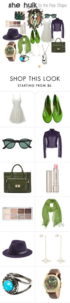 She hulk for the pear shape by stevie-sm-williams on Polyvore featuring LE3NO, Versace Jeans Couture, Melissa, Diane Von Furstenberg, Marvel, Pamela Love, rag & bone, Ray-Ban, By Terry and OPI
