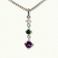 Custom Three Stone Gemstone Pendant Diamond, Emerald & Amethyst