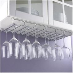 Wine Enthusiast Hanging Metal Stemware Rack    would be easy to install under a cabinet in the kitchen