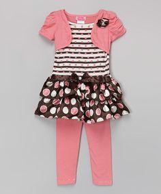 Look at this #zulilyfind! Orange & Brown Stripe Layered Tunic & Leggings - Girls #zulilyfinds