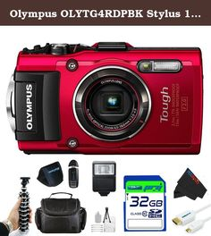 "Olympus OLYTG4RDPBK Stylus 16 Waterproof Digital Camera with 4x OIS Zoom, 3"" LCD (Red). Preserve memories from your most adventurous trips with the water, crush, shock, freeze, and dustproof Stylus TOUGH TG-4 Digital Camera from Olympus. In addition to being fully sealed from dust, the TG-4 is built to withstand underwater dives up to 50' deep, falls from up to 7' high, temperatures as low as 14 Degree, and pressure up to 220 lb.. While serving to protect on an array of adventures, these..."