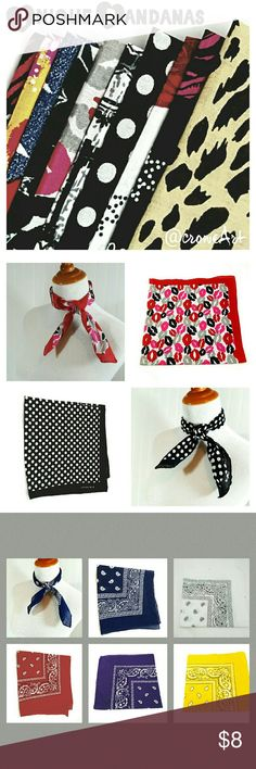 Unique Bandanas Get the latest look with these trendy and unique 100% Cotton bandanas.  Made by Elephant, the most popular brand for bandanas!  See other listings for more styles & colors!  Brand new, Price is firm unless bundled.  Can be worn many ways...get creative!!! Elephant  Accessories Scarves & Wraps