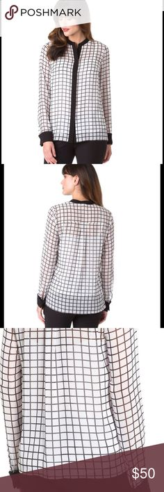 Michael Kors Chiffon Blouse Stark contrast at the band collar, concealed placket and French cuffs enhances the graphic distinction of a grid-patterned blouse cut from airy-sheer chiffon. 28\