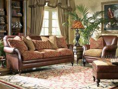 Leather Sofa W Fabric Cushions