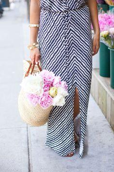 Peonies. #stripes.