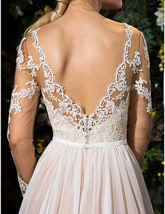 Train Chiffon And Tulle Wedding Dress - Love the back! ==