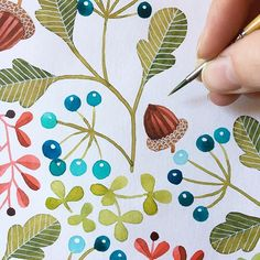 #acorn #leavesandberries #berries #pattern #whitegellyrollpen