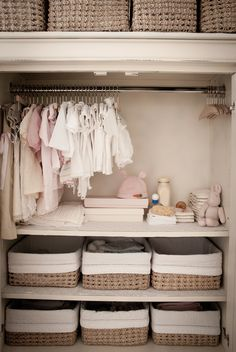NURSERY STORAGE: Consider investing in a professional closet system to really maximize your storage space. For a cheaper alternative, DIY shelving units with decorative bins are both attractive and functional.  And don't forget—tight spaces, walk-in closets or other oddly sized spaces can make a great place to stash a bassinet.