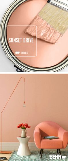 We're getting serious millennial pink vibes when it comes to the light blush hue of Sunset Drive by BEHR Paint. A chic addition to this mid-century modern living room, this romantic wall color can also work as an accent color for your favorite piece of fu Interior Paint Colors, Paint Colors For Home, House Colors, Paint Colors For Living Room, Orange Paint Colors, Bedroom Colors, Navy Coral Bedroom, Room Interior, Modern Living Room Colors