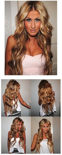 Beach waves - want to do this, buuut, don't think my flat iron will cut it. I'll have to give in and buy a real curling iron. waaah!