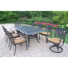 Oakland Living Hampton 9-Piece Patio Dining Set with Sunbrella Cushions-7207-7201-7202-17-D54-AB - The Home Depot