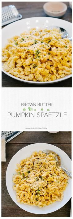 Brown Butter Pumpkin Spaetzle | www.kitchenconfidante.com | This side dish is all about fall! You'll love these easy homemade dumplings!