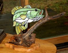Large Mouth Bass Stained Glass Art with Wood by BerlinGlass, $99.00