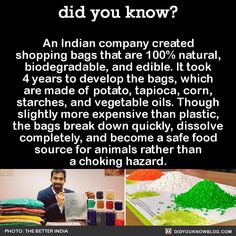 did you know? - An Indian company created shopping bags that are. The More You Know, Good To Know, Did You Know, Save Our Earth, Save The Planet, Wtf Fun Facts, Fascinating Facts, Interesting Facts, Faith In Humanity Restored