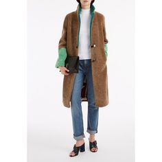 SAKS POTTS Beige Colourblock Shearling Coat ($1,624) ❤ liked on Polyvore featuring outerwear, coats, color block coat, beige coat, shearling coat, white coat and sheep fur coat