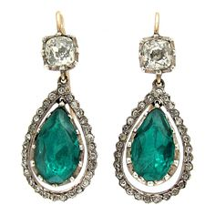 Antique Green and White Paste Drop Earrings | From a unique collection of vintage drop earrings at https://www.1stdibs.com/jewelry/earrings/drop-earrings/