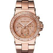 Michael Kors Watches Michael Kors Ladies Dylan Glitz Chronograph Rose Gold Dial - The detailed topring with baguette stones gives this timepiece a luxe feel, and the rose gold is on-trend. We love the menswear-inspired design and classic strap. 46 clear stones surrounding the dial add some shine to the rose gold plated stainless steel case and band. -- http://newtimepieces.com/michael-kors-watches-michael-kors-ladies-dylan-glitz-chronograph-rose-...
