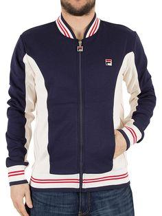 Fila Vintage Men's Settanta Baseball Track Top Jacket, Blue at Amazon Men's Clothing store: