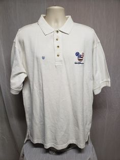 3aff2164 Walt Disney World American Flag Mickey Mouse Adult White XL Polo Shirt  #Disney #PoloRugby