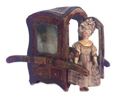 In a Perfect World: 10 Miniature Wooden Grodnertal Doll in Early Sedan Chair
