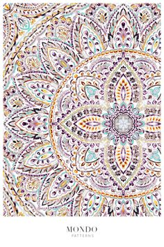 Watercolor Mandala, Mandala Pattern, Repeating Patterns, Beautiful Patterns, Print Patterns, Pattern Design, Tapestry, Hand Painted, Illustration