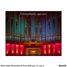 Extra large Christchurch Town Hall organ poster