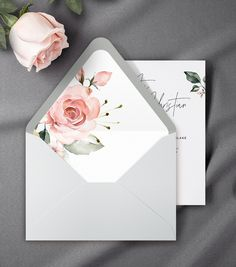 Elegant Envelope Liner with Watercolor Pink Roses & Greenery, Euro Flap, Square Flap, by AliceBluefox on Etsy Origami Envelope, Diy Envelope, Envelope Design, Envelope Liners, Diy And Crafts, Paper Crafts, Gift Wraping, Wedding Cards Handmade, Flower Phone Wallpaper