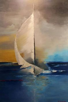 Modern Art Paintings, Seascape Paintings, Landscape Paintings, Sailboat Art, Sailboat Painting, Beach Art, Abstract Landscape, Art Pictures, Watercolor Paintings