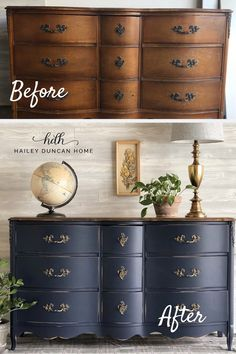 DIY Painted Dresser Navy Blue wins again! This DIY furniture makeover is stunning, it's amazing what some paint can do to a thrift store dresser! This painted dresser was done in Coastal Blue by General Finishes. Thrift Store Furniture, Refurbished Furniture, Repurposed Furniture, Furniture Ideas, Farmhouse Furniture, Repainting Bedroom Furniture, Repaint Wood Furniture, Refinished Bedroom Furniture, Two Tone Furniture