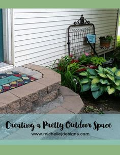 I tried to get outside and create a pretty area next to my back door for people to see each time they walk up to the house.  I think it turned out really cute.…
