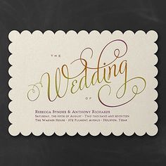 Scalloped edges, ombré foil and white shimmer paper make this unique wedding invitation all about your beautiful event. Unique Wedding Invitations, Wedding Stationery, Wedding Events, Wedding Day, Weddings, Masquerade Theme, Going For Gold, Invitation Design, Invite