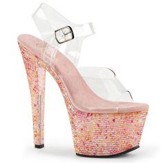 Pleaser CRYSTALIZE-308TL Clear Ankle Strap Sandals With Pink Crystal Platform