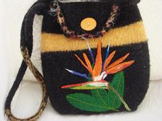 bird of paradise felted bag, love it !