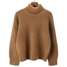 Khaki ONE SIZE Drop Shoulder Long Sleeve Turtleneck Sweater (1.000 RUB) ❤ liked on Polyvore featuring tops, sweaters, turtle neck sweater, brown turtleneck sweater, brown turtleneck, khaki top and turtleneck tops