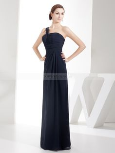 Neenah - Draped One Shoulder Sheath Long Chiffon Bridesmaid Dress