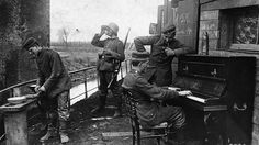 German soldiers playing on a piano, Lens, France. WWI.