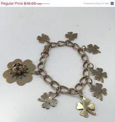 ON SALE Lucky Charm Bracelet Four Leaf Clover Forget by ravished