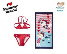 Designer #girls red polka dot #bikini and #beachtowel from the Spanish brand #TucTuc, Spring/Summer 2015.  Shop at www.kidsandchic.com/girl/products-girls/girl-beachwear-accessories  #kidsandchic #kidsboutique #barcelona #castelldefels #shoponline