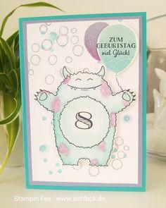 stampin Monster birthday yummy in my tummy Card balloon Geburtstag karte