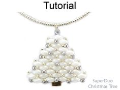 2 Hole SuperDuo Beaded Christmas Tree Necklace Earrings Holiday Jewelry Downloadable Beading Pattern Tutorial   Simple Bead Patterns
