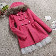 Sweet Rose Red Double Breast Hooded Coat Dress Splicing with Mesh Hem
