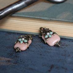 coral agate earrings by Ollipop $30.99