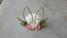 Bunny ear cake topper // floral wreath crown photo prop //