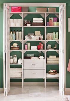 In an organized linen closet, everything has a place! Create more ways to store your belongings with a new closet organizer. #LinenCloset #LinenClosetInspo #Bathroom  #HomeDepot