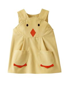 Little Chick baby duckling toddler character play dress.    Adorable little dress for spring.  Classic pinafore shape in soft yellow superior