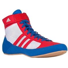 hot sale online c31a7 e62eb New Adidas HVC 2 Wrestling Shoes MMA Boxing Blue Red White Pretereo AQ3324   adidas  Wrestling